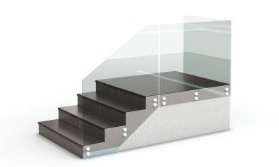 Стеклянные перила из каленого стекла с боковым креплением